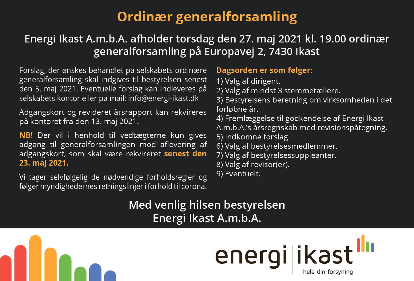 Indkaldelse til Generalforsamling i Energi Ikast AmbA 2021